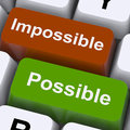 Possible And Impossible Keys Show Optimism And Positivity Royalty Free Stock Images