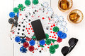 Post blog social media poker. Banner template layout mockup for online casino. Wooden white table, top view on workplace
