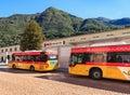 Post Buses in the city of Bellinzona, Switzerland