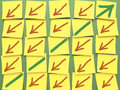 Post it chart information board with arrows showing growth against the trend Royalty Free Stock Image