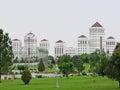 Post communism apartment buildings in Ashgabat Royalty Free Stock Photo