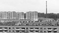 Post communism block of flats black and white concept with big factory chimney typical heritage poland Stock Photo