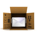 Post information message in package delivery illustration Royalty Free Stock Photography