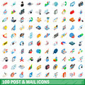 100 post and mail icons set, isometric 3d style