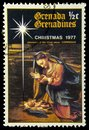 Adoration of the Child Jesus post stamp Royalty Free Stock Photo