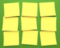 Post it nine stuck on green chalkboard clipping path included Royalty Free Stock Photos