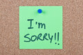 Post it note with i'm sorry Royalty Free Stock Photo