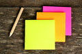 Post it note and pencil ready to use Stock Photography