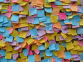 Post it note wishes thoughts and prayers message wall notes for dreams Royalty Free Stock Image