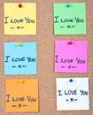 Post it note on wood collage notes with i love you Stock Images