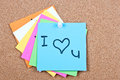 Post it note on wood collage notes with i love you Royalty Free Stock Photography