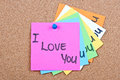 Post it note on wood collage notes with i love you Stock Photos