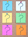 Post it note on wood collage notes with question mark Royalty Free Stock Photos