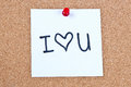 Post it note on wood in white with i love you Stock Photos