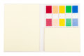 Post it notebook yellow with colourful Stock Image
