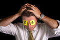 Post it notes for eyes man wearing with the dollar symbol as glasses Royalty Free Stock Image
