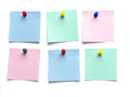 Post it notes six blank pinned on white surface Stock Image