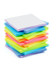 Post it notes stack of rainbow colored stickers isolated on white background Royalty Free Stock Images