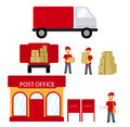 Post office, boxes, postman,Delivery truck. Delivery Concept. Vector flat