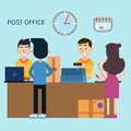 Post Office. Woman Receiving Letter. Postal Service