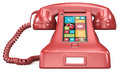Post retro telephone red with modern smartphone ui Royalty Free Stock Image