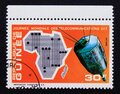 Post stamp Republic of Guinea, 1972, space telecommunications Royalty Free Stock Photo