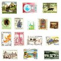 Post stamps background Royalty Free Stock Photo