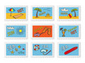 Post stamps with beach doodles Stock Photos