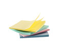 Post it sticky notes composition pile of note papers isolated over white background Royalty Free Stock Images
