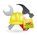 Post it under construction sign illustration design over white Stock Photography