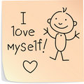 Post-it with words I love myself Stock Photo