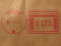 Postage meter from brescia italy printed with red ink over light brown envelope Royalty Free Stock Photography