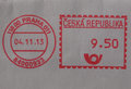 Postage meter from prague red ink over white envelope Stock Images
