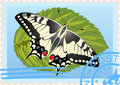 Postage stamp with a butterfly Royalty Free Stock Images