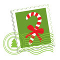 Postage stamp with candy cane Stock Photos
