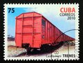 Postage stamp Cuba 2010. Goods trucks Casilla Irani cargo train Royalty Free Stock Photo