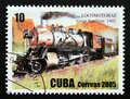 Postage stamp Cuba 2005. Great Northern, 1902 steam locomotive Royalty Free Stock Photo