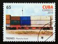 Postage stamp Cuba 2010. Plancha irani Coaches with containers cargo train Royalty Free Stock Photo