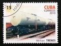 Postage stamp Cuba 2010. Tank car Irani Silo cargo train Royalty Free Stock Photo
