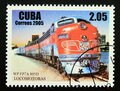 Postage stamp Cuba 2005. Western Pacific FP7A 805D locomotive Royalty Free Stock Photo