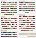 Postage stamp with flags of the world. Set of 229 world flag Royalty Free Stock Photo
