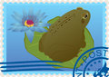 Postage stamp with a frog Royalty Free Stock Photo