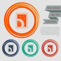 Postage stamp icon on the red, blue, green, orange buttons for your website and design with space text. Royalty Free Stock Photo