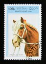 Postage stamp Laos 1996. Cold blooded Horse Equus ferus caballus Royalty Free Stock Photo