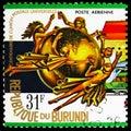 Postage stamp printed in Burundi shows Globe, 31 FBu - Burundian franc, U.P.U. (Universal Postal Union), Centenary serie, circa