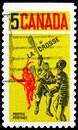Postage stamp printed in Canada shows Lacrosse Players, serie, circa 1968 Royalty Free Stock Photo