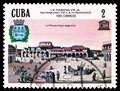 Postage stamp printed in Cuba shows City Square (16th-century), UNESCO World Heritage - Old Havana serie, circa 1985 Royalty Free Stock Photo