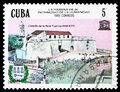 Postage stamp printed in Cuba shows Real Fuerza Castle, UNESCO World Heritage - Old Havana serie, circa 1985 Royalty Free Stock Photo