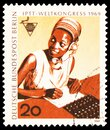 Postage stamp printed in Germany, Berlin, shows Telephonist (Africa), World Congress (PTTI), Berlin serie, circa 1969 Royalty Free Stock Photo