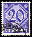 Postage stamp printed in Germany shows Official Stamp - with figures '21', serie, 20 German reichspfennig, circa 1920
